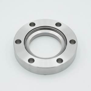 "UHV Viewport, All Titanium UV Grade Fused Silica, Zero Length Profile, 1.40"" View Dia, 2.75"" Conflat Flange"