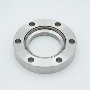 """UHV Viewport, DUV Grade (Laser) Fused Silica, Non-Magnetic, 1.40"""" View Dia, 2.75"""" Conflat Flange (316LN)"""