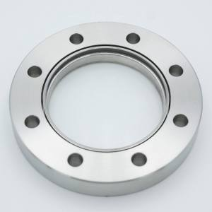 """UHV Viewport, DUV Grade (Laser) Fused Silica, Non-Magnetic, 2.69"""" View Dia, 4.50"""" Conflat Flange (316LN)"""