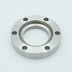 """UHV Viewport, .DUV Grade (Laser) Fused Silica, Zero Length Profile, w/ AR Coating for 808nm, 1.42"""" View Dia, 2.75"""" Conflat Flange"""