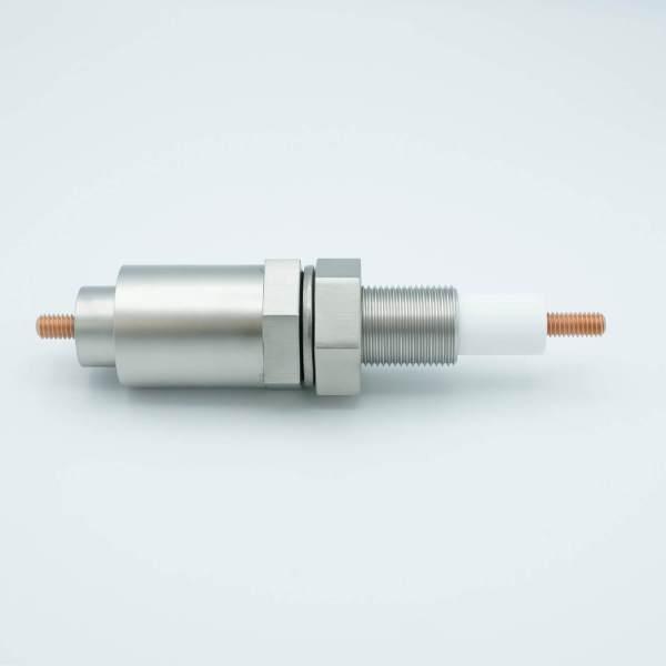 """MPF - A13968-1: E-Beam Power Feedthrough, 12,000 Volts, 1 Pin, With Sputter Shield, 1"""" Baseplate Bolt, OAL 6.93"""