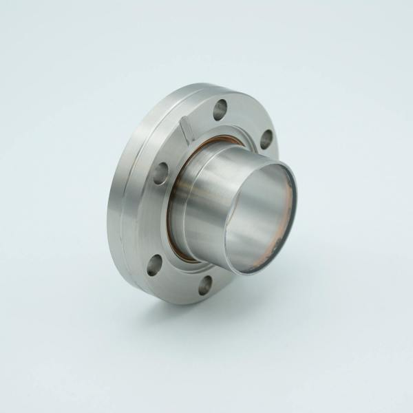"UHV Viewport, Laser Grade Fused Silica Viewport, Re-entrant Design, .75"" In-Vacuum Length, 1.33"" View Dia, 2.75"" Conflat Flange"