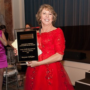 Maryann Gallagher accepts her Trial Lawyer of the Year award