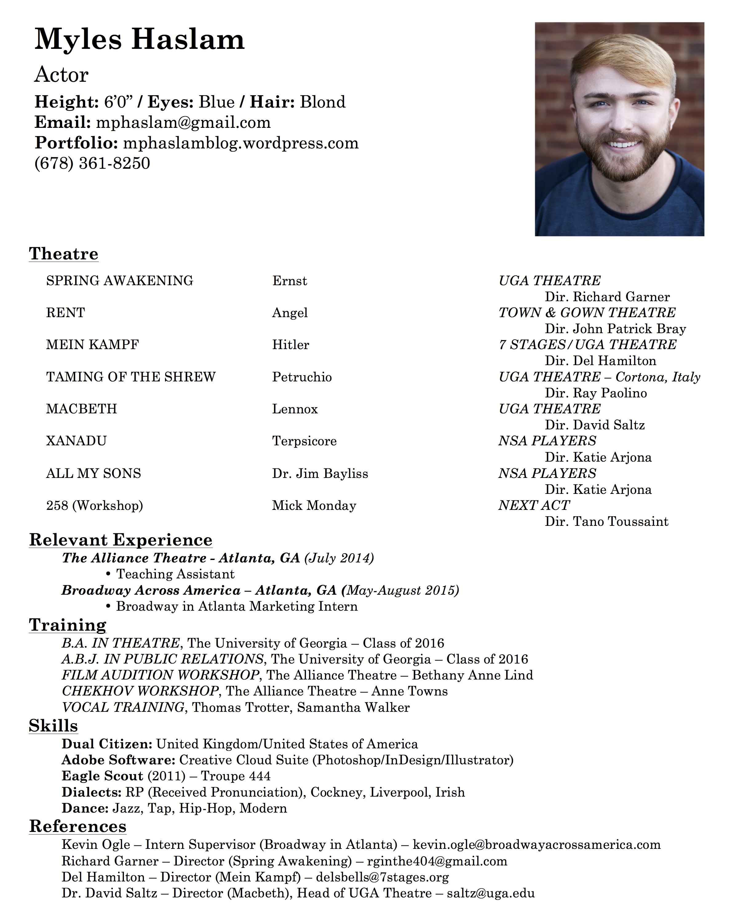 Resume Samples For Kids Acting