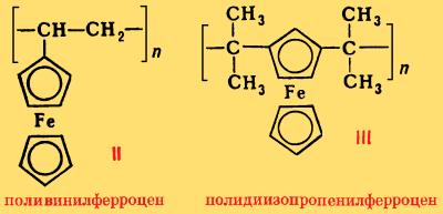 Полиферроцены (polyferrocene, Polyferrozen, polyferrocene)— это полимеры, содержащие в основной или боковой цепи макромолекулы ферроценовые группировки