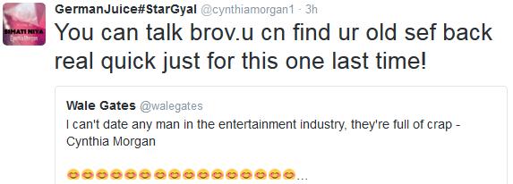 """wpid7700-2 Cynthia Morgan mocks her male colleagues, tells Wale Gates ''I'll smack the f**k outta u"""""""