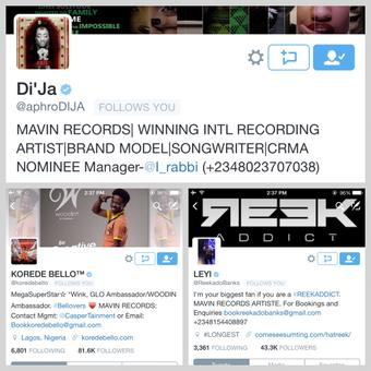 twitter Twitter Verifies Korede Bello, Di'Ja & Reekado Banks