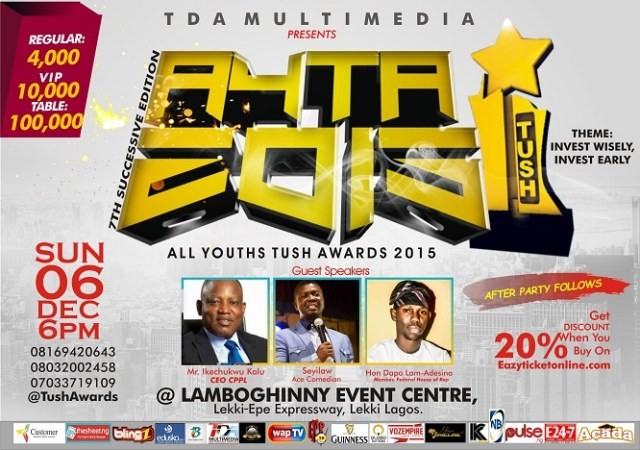 publicityy Doris Simeon, Jaywon & Others to pick Role Model Awards at the 7th All Youths Tush Awards