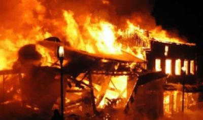 Alleged Drunk Man set INEC Office Ablaze in Plateau (photos)