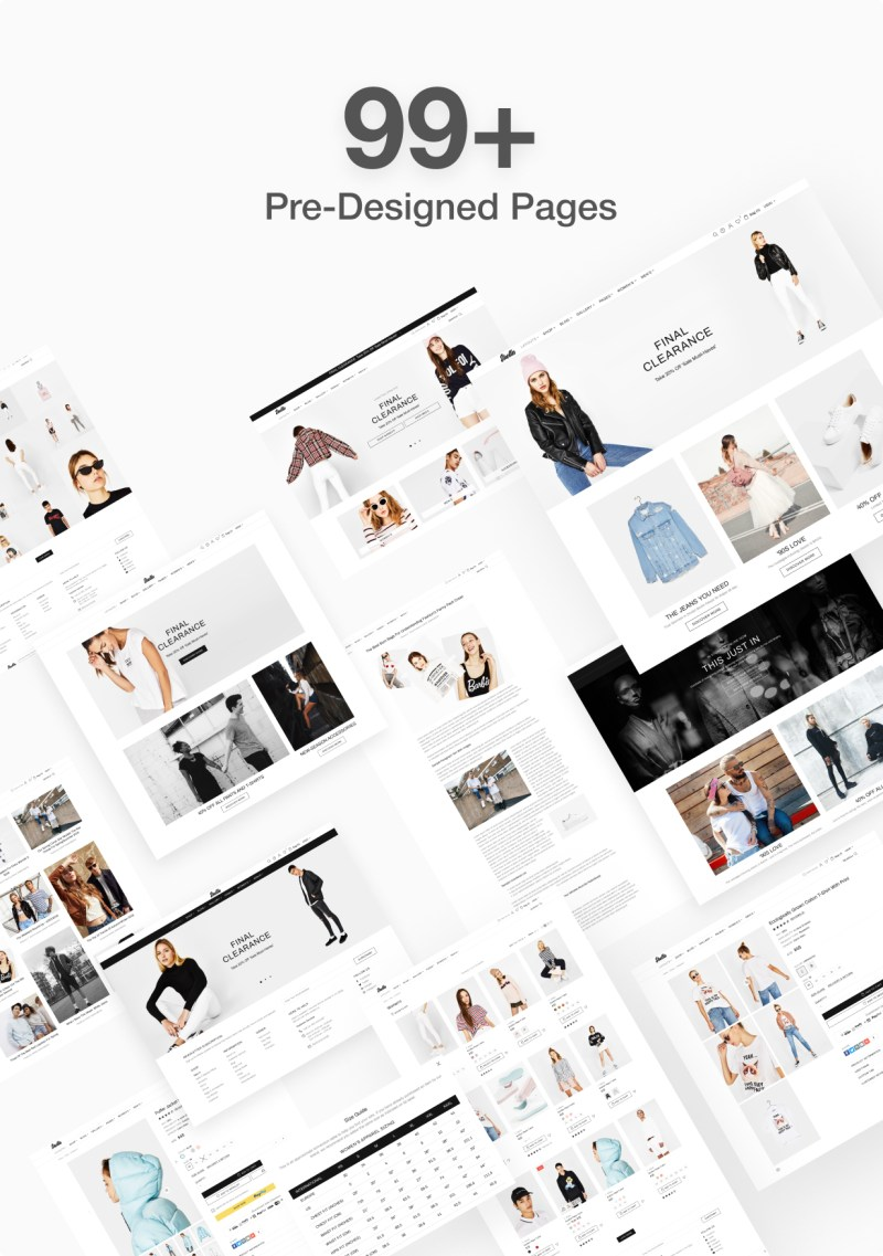 99+ pre designed pages for Shella Shopify theme