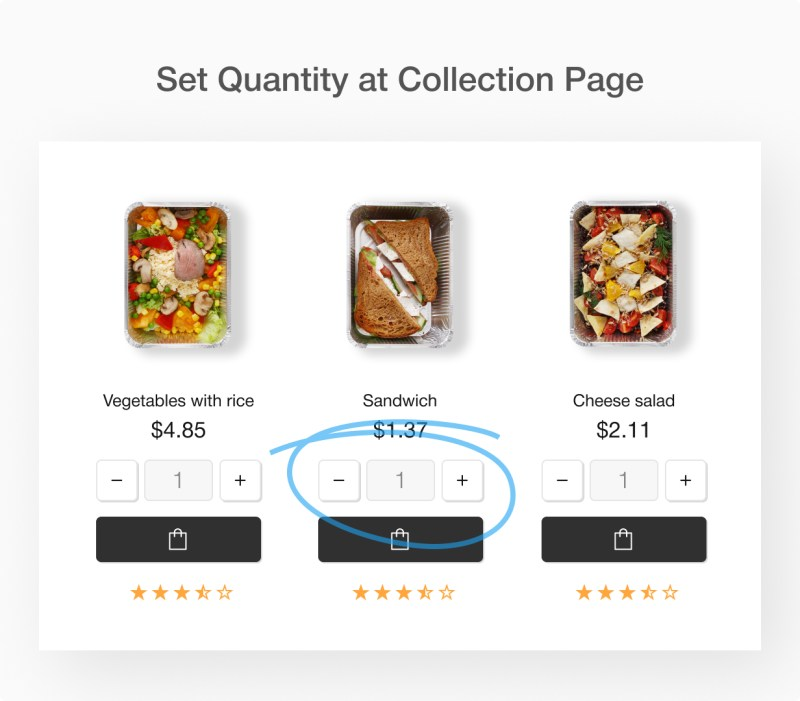 Set Quantity at Collection page