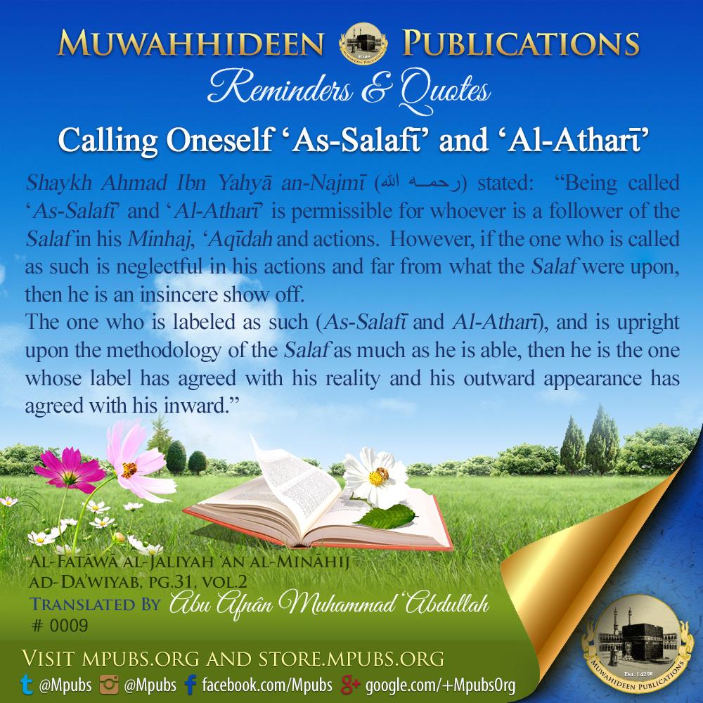 quote0009 calling oneself as salafi and al athari