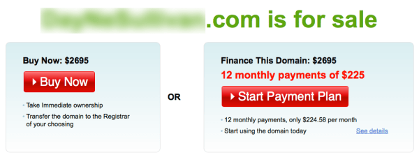 A separate company is selling the domain name for $2695.