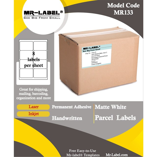 Mr-Label 20.20 x 20.20 mm Matte White Parcel Shipping Labels - Self-Adhesive  Blank Labels for Inkjet & Laser Printer - for Package  Envelope - 20 Labels