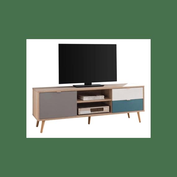 meuble tv scandinave aruba chene gris bleu et blanc