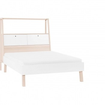 lit 160 200 design avec rangements bois et blanc easy