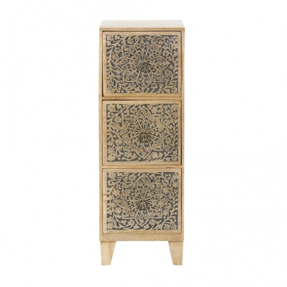 petit meuble de rangement 3 tiroirs en manguier grave