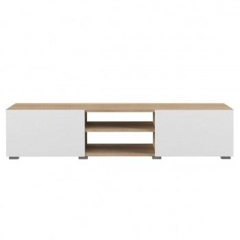 meuble tv design 2 portes blanc laque et bois erra