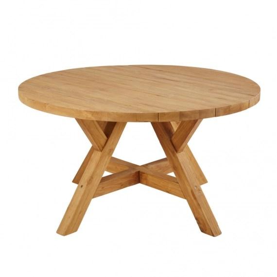 table de jardin ronde en teck recycle 6 personnes d140 tecka