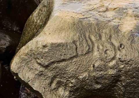 Petroglifo en la zona arqueológica de Las Labradas