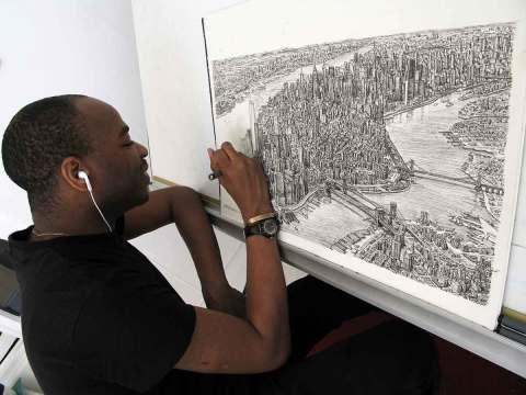 Stephen Wiltshire dibujando Manhattan