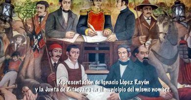 Mural que representa la creación de la Junta de Zitácuaro después de la batalla del Maguey