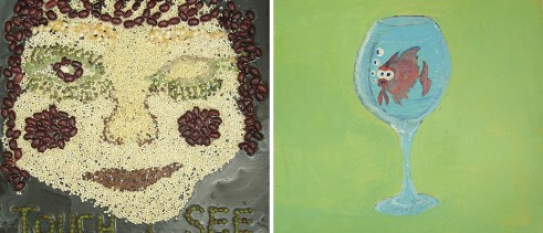 """Pictured image on the left is an artwork by Samantha E. Description: A tactile portrait made with glued various sizes and colors of seeds and beans. The face has one eye closed, red cheeks, and a slight smile. The words, """"Touch + See"""" are at the bottom. Pictured image on the right is an artwork by Shia V. Description: Large, blue-tinged goblet with a google-eyed red/magenta fish floating in the goblet with four white and blue air bubbles rising from its blue lips. The background is a solid base of yellow/green filling the tile."""