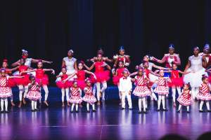 Young dancers on stage for the Les Jolies Petites School of Dance Winter Performance