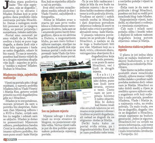 Članak iz VG Danas o našem portalu: Pokrenuli internet revoluciju u Turopolju