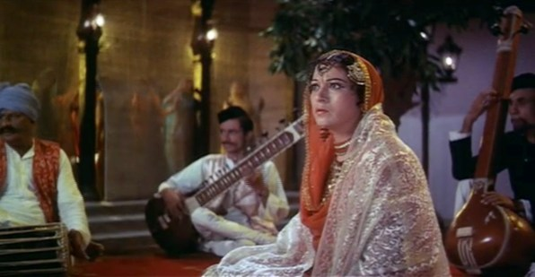 Nawabjaan, played by Veena, watches in horror as Pakeezah's father enters the circus.