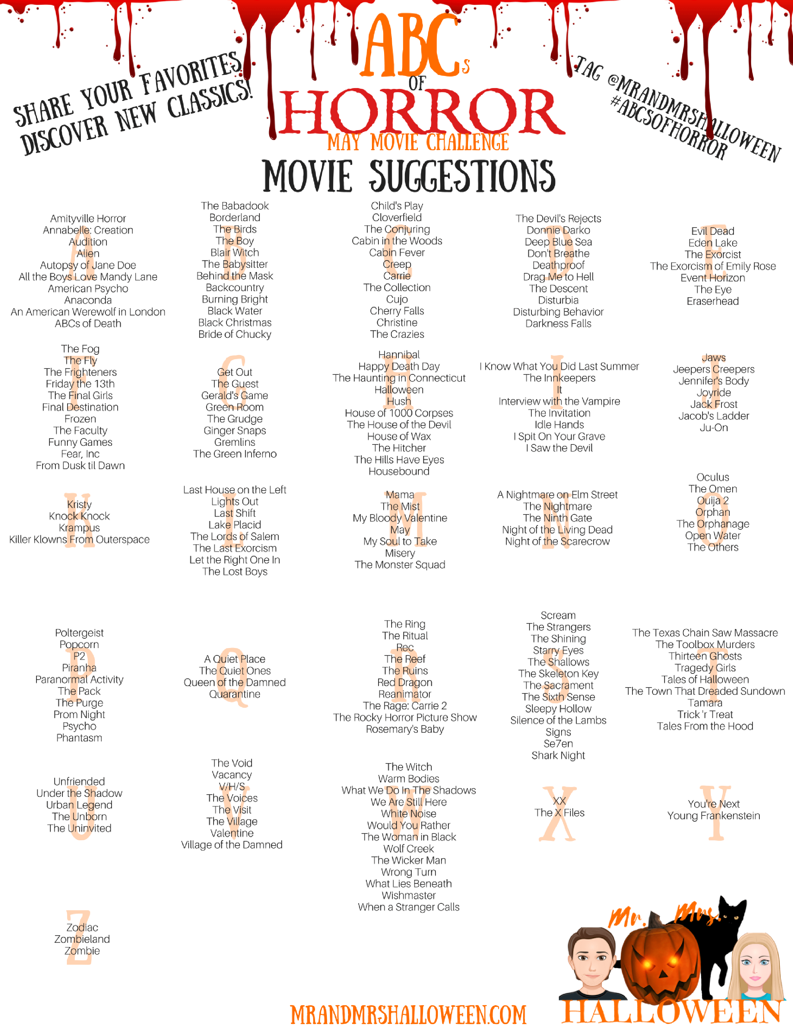 Abcs Of Horror Movie Challenge Mr And Mrs Halloween The american youtube star, who is also active on instagram and twitter, has lots of fans and followers on these social platforms as well. abcs of horror movie challenge mr