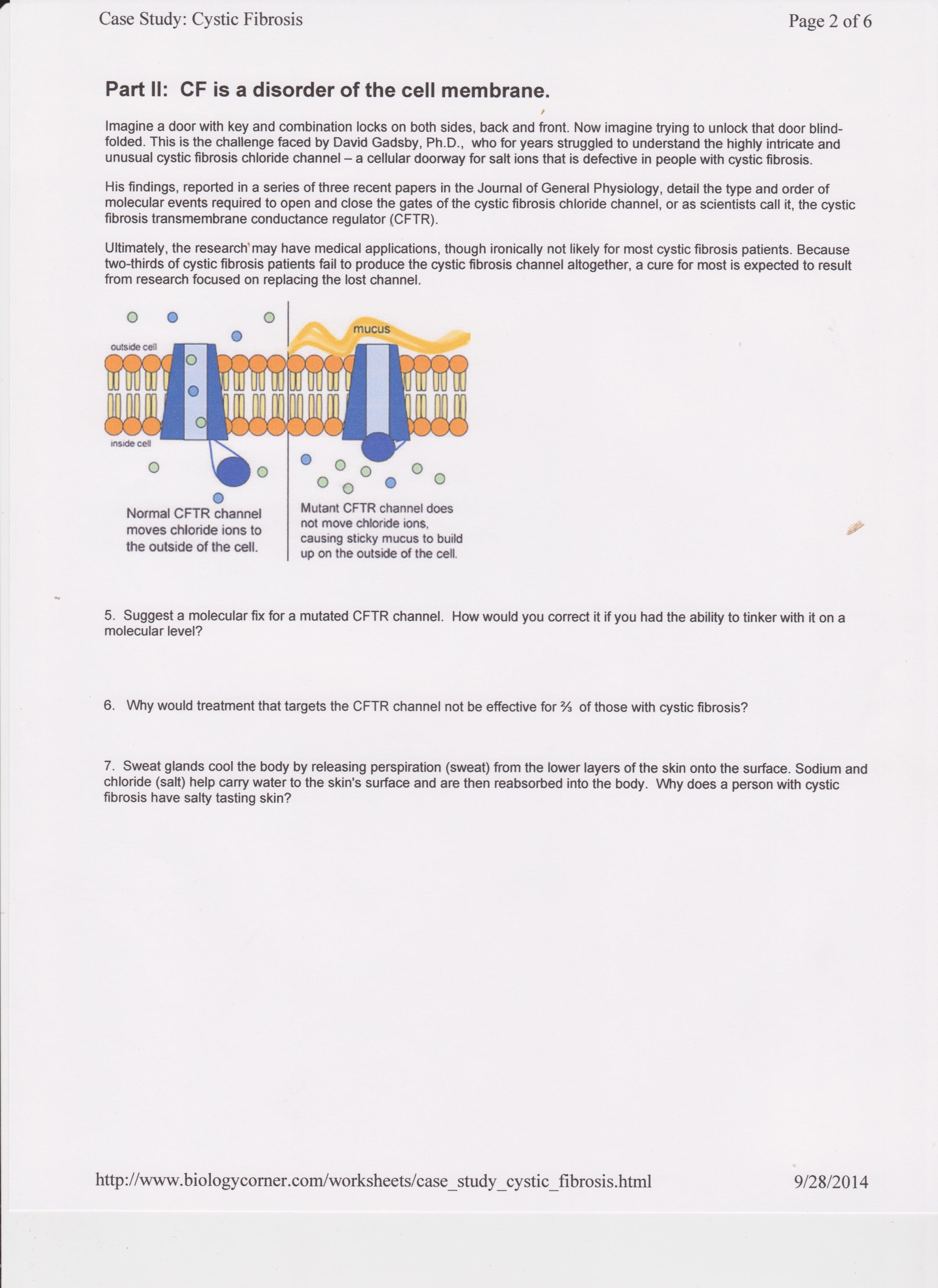 Cystic Fibrosis Case Study Flashcards