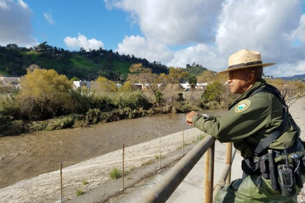 Ranger observing Los Angeles River Recreation Zone