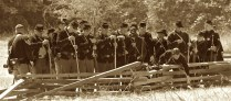 Union soldiers reloading their muskets