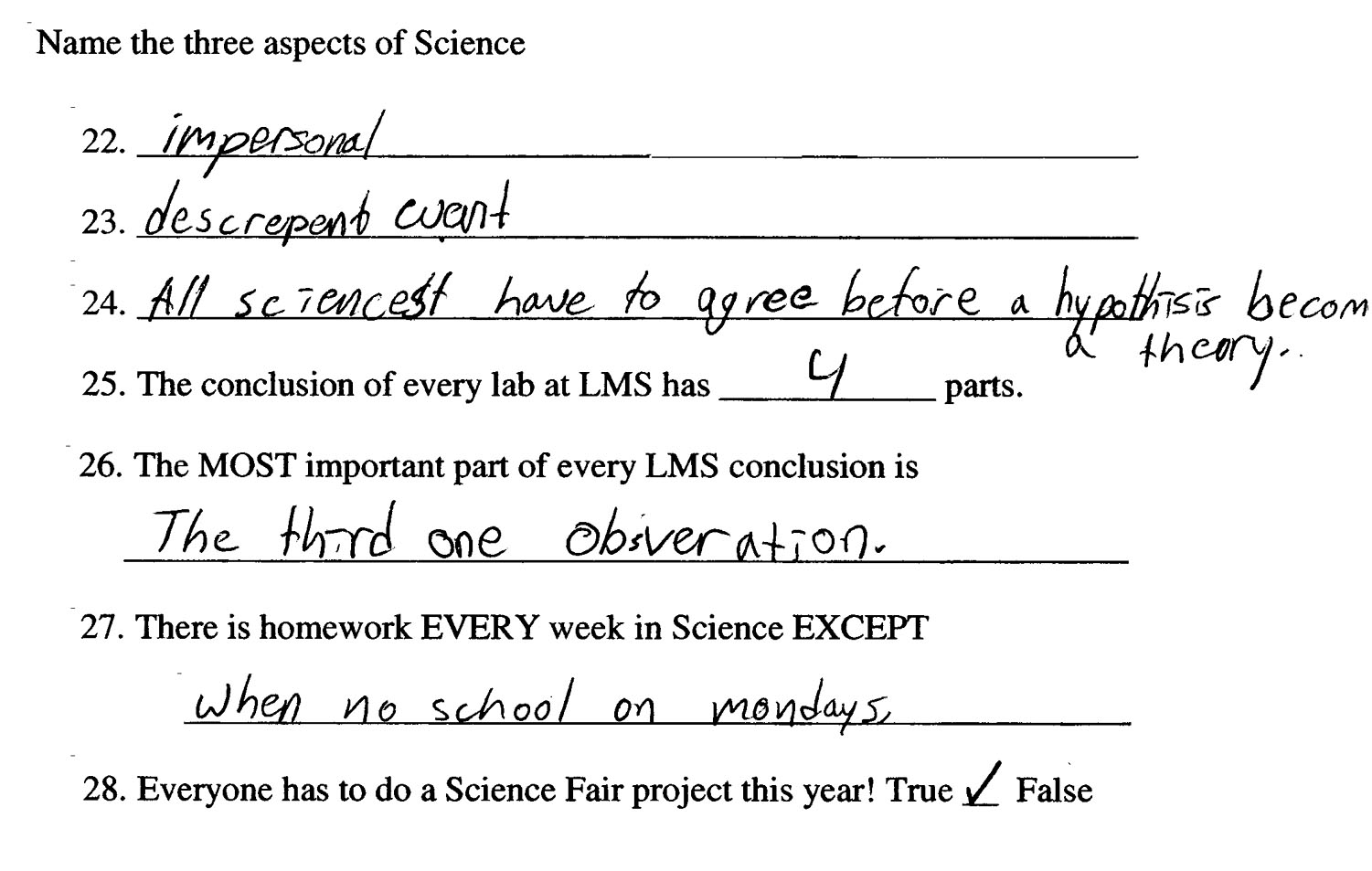 1st Quarter Assignments 6th Grade Physical Science