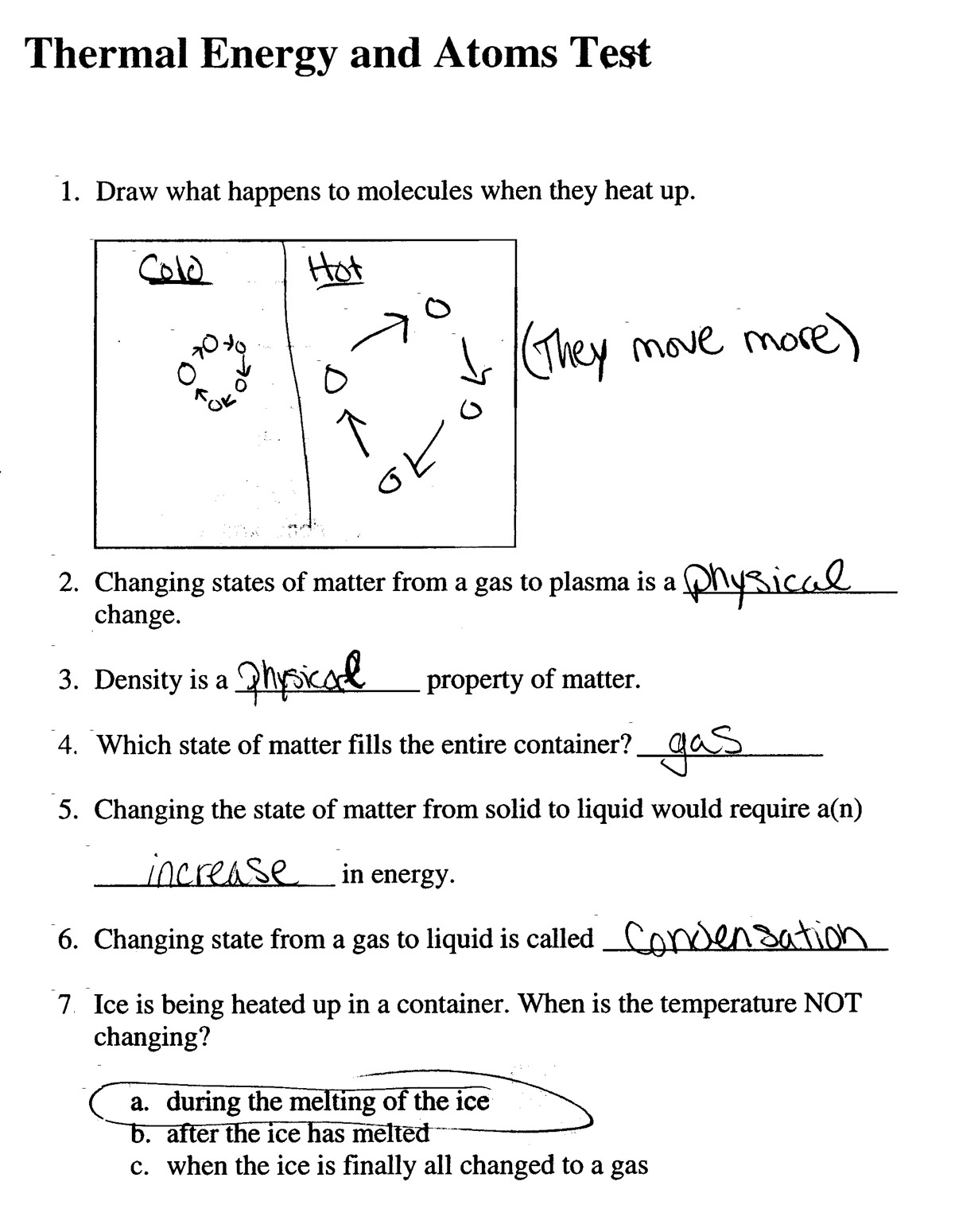 Science 8 States Of Matter Worksheet
