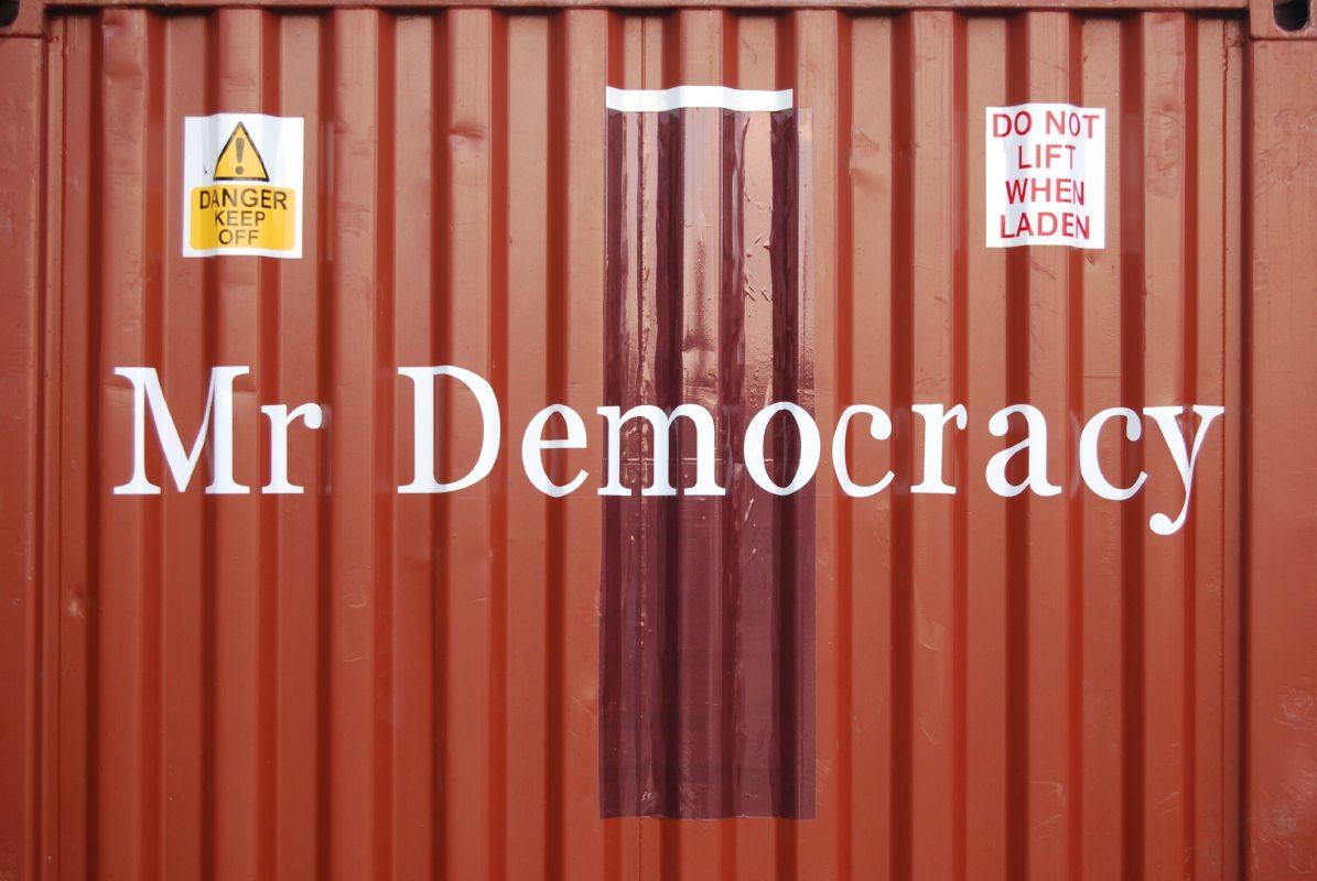 Mr Democracy outdoor sign