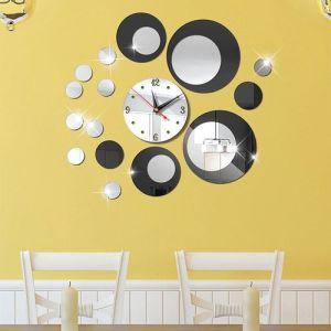 Silver Circle 3D Crystal Mirror Wall Clock Wall Sticker