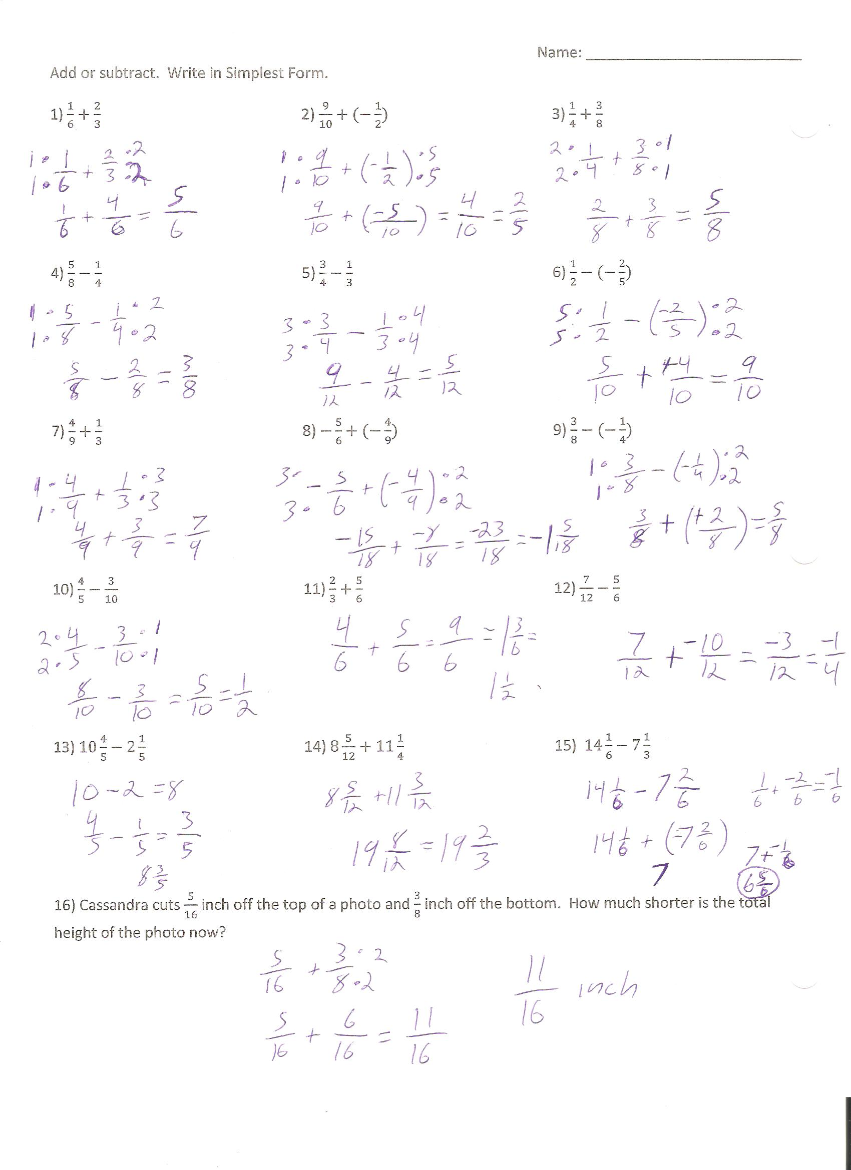 Sept 24th Adding And Subtracting Fractions Page 2