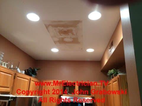 recessed lighting in a condominium kitchen