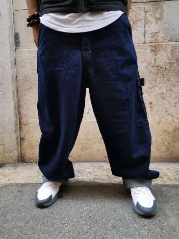 OUTSIDER Baggy Pants Dark Blue
