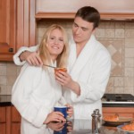 loving couple in kitchen