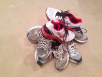 pile of running shoes