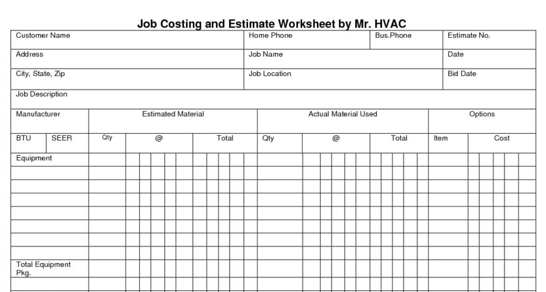 Job Costing And Estimate Worksheet Mr Hvac