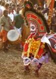 Poothanum Thirayum - a visual art form with masked characters representing Kali (Goddess) and spirits (Boothaganam)
