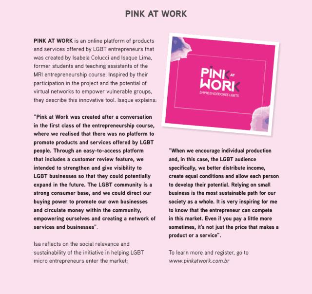Pink At Work - Micro Rainbow International Foundation