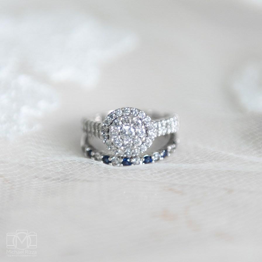 Bride's wedding ring and wedding band