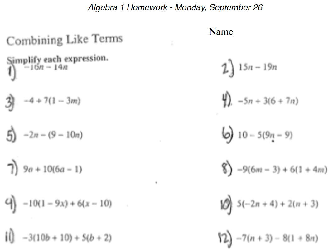 57 Math Worksheets 9th Grade Algebra