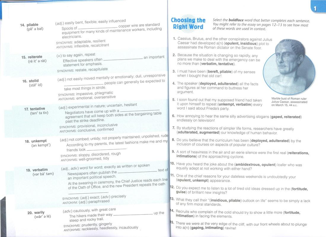 Vocabulary Workshop Level E Unit 2 Completing The Sentence