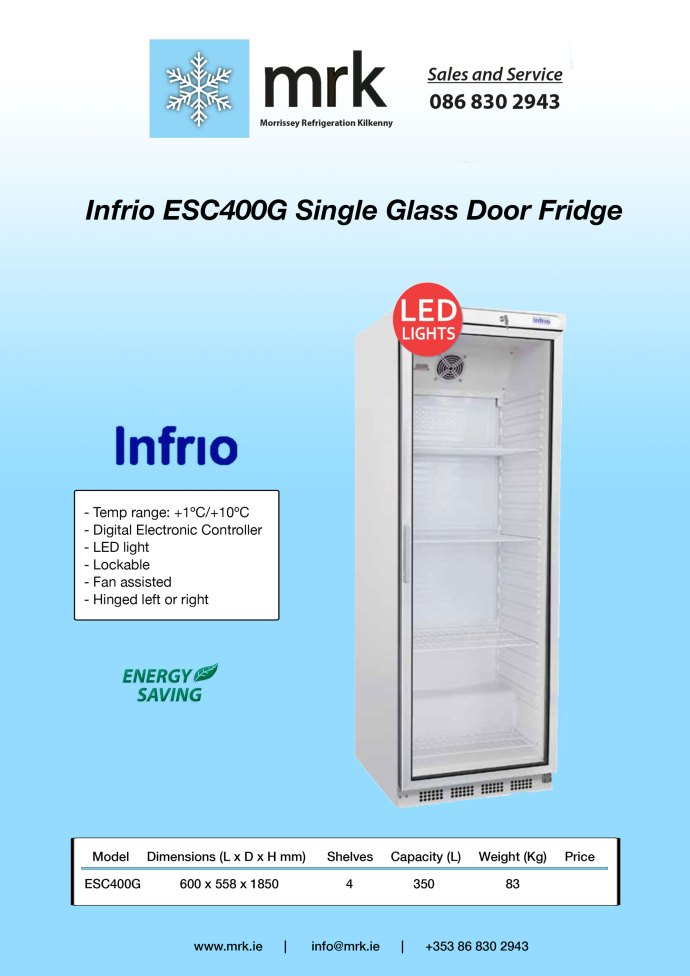 Infrio ESC400G Single Glass Door Fridge